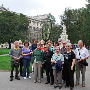 Tour group in front of Mozart's statue on the Eastern European Capitals tour